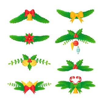 Zestaw świątecznych nagłówków lub przegródek gałąź sosnowa kulki kwiatowe ostrokrzewu jodły w stylu kreskówki