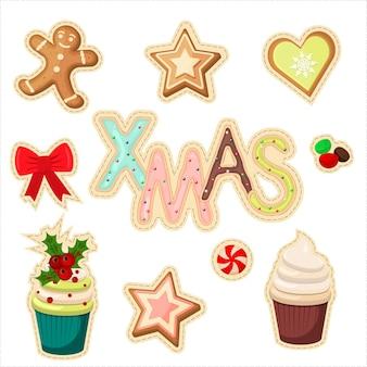 Zestaw świątecznych naklejek wektor. zima symbol kreskówka wesołych świąt zestaw naklejek. świąteczne naklejki świąteczne pozdrowienia słodycze i ciasteczka labelel ement. zestaw ikon świąt bożego narodzenia i ferii zimowych.