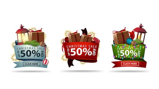 Zestaw świątecznych naklejek wolumetrycznych 3d ozdobionych prezentami i świątecznymi elementami. banery rabatowe na białym tle