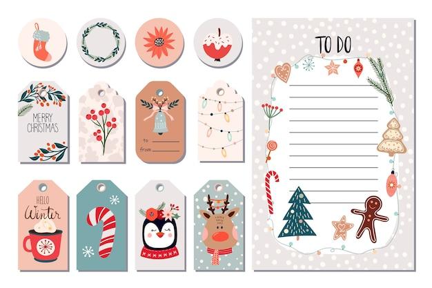 Zestaw świątecznych naklejek, zimowe etykiety z tagami i lista zadań do wykonania