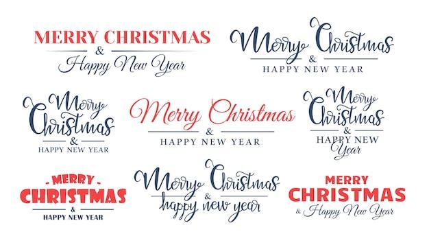 Zestaw świątecznych napisów na białym tle