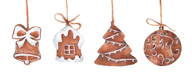 Zestaw świątecznych pierników wiszących na sznurku. akwarela ilustracja.