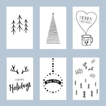 Zestaw świątecznych plakatów zestaw szablonów kart świątecznych