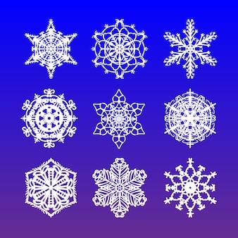 Zestaw świątecznych płatków śniegu