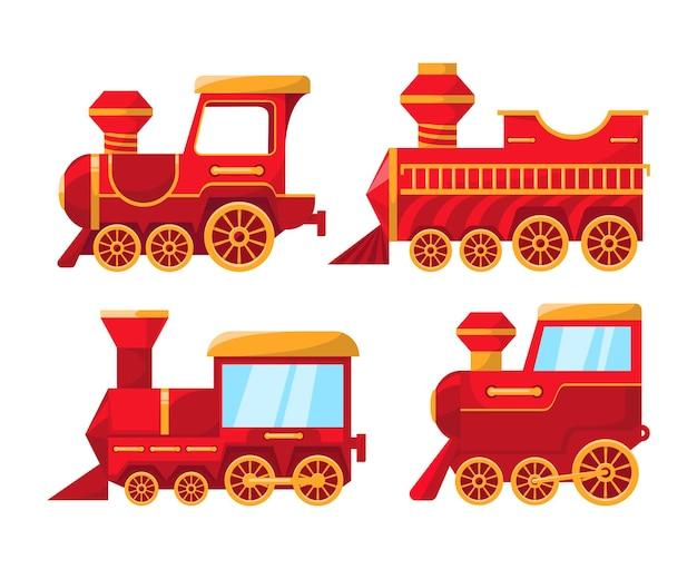 Zestaw świątecznych pociągów. na białym tle.