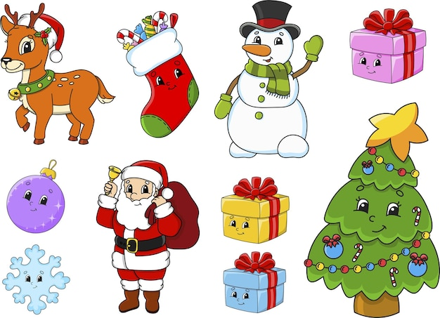 Zestaw świątecznych postaci i obiektów z uroczymi wyrażeniami. święty mikołaj, renifery, drzewo, prezenty