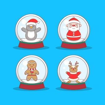 Zestaw świątecznych postaci w kryształowych kulach