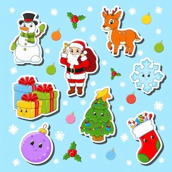 Zestaw świątecznych postaci z kreskówek. bałwan, jeleń, święty mikołaj, płatek śniegu, prezenty, choinka, skarpeta, bombka.