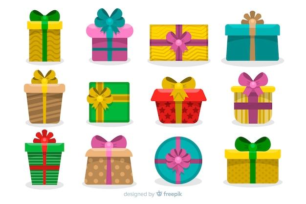 Zestaw świątecznych prezentów w płaskiej konstrukcji