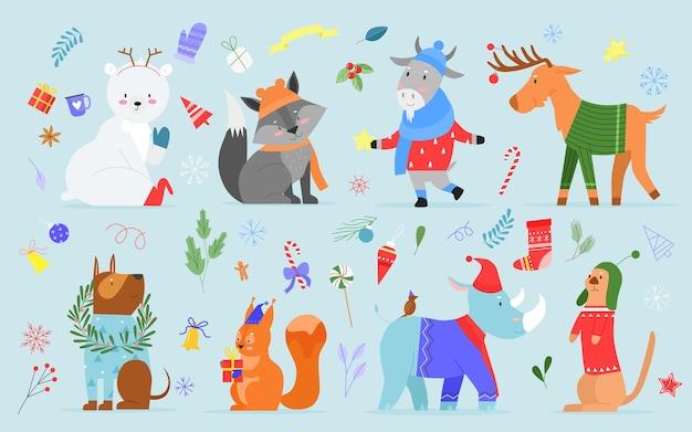 Zestaw świątecznych przyjaciół zwierząt zimowych