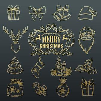 Zestaw świątecznych ręcznie rysowane ikony.