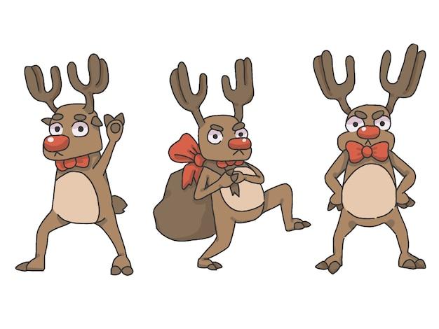 Zestaw świątecznych reniferów