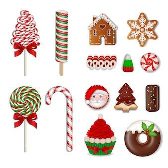 Zestaw świątecznych słodyczy na białym tle lizaki cukierki czekoladki ciasteczka i ciasta