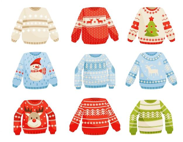Zestaw świątecznych swetrów, ciepły sweter z dzianiny z uroczymi ozdobami ilustracja na białym tle