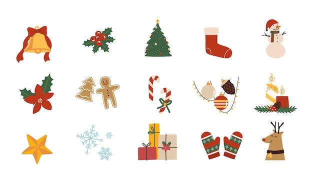 Zestaw świątecznych symboli bożego narodzenia w stylu płaski