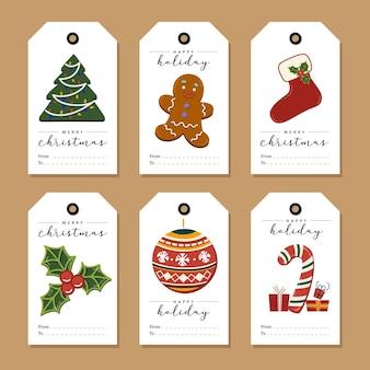 Zestaw świątecznych tagów prezent