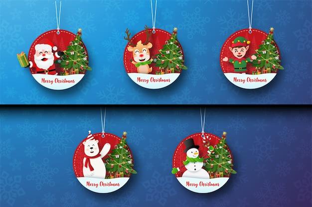 Zestaw świątecznych tagów z uroczą postacią świąteczną