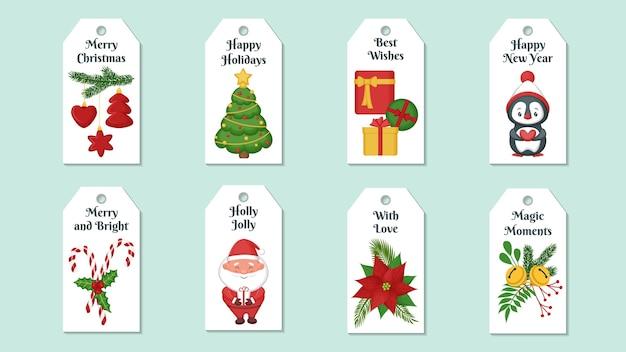 Zestaw świątecznych tagów