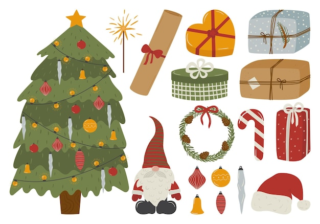 Zestaw świątecznych uroczystości elementy dekoracyjne drzewo prezenty zabawki krasnal wieniec cukierki kapelusz