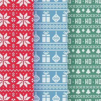 Zestaw świątecznych wzorów z dzianiny