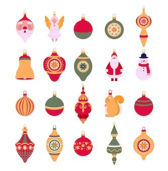 Zestaw świątecznych zabawek retro do dekoracji choinki.