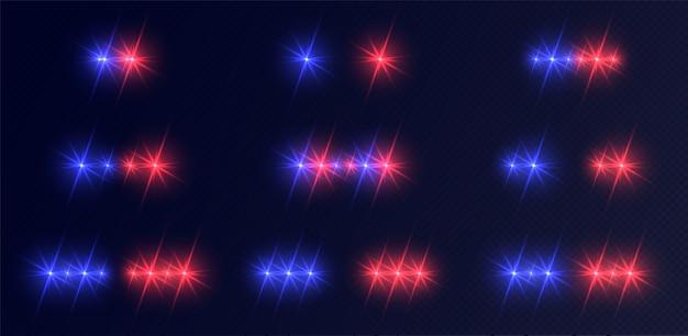 Zestaw świateł policyjnych, niebiesko-czerwone reflektory awaryjne z flarami.