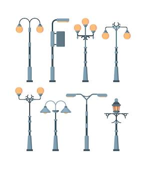 Zestaw świateł ulicznych. tradycyjne i retro lampy miejskie antyczne vintage