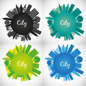 Zestaw światów z kolorowych ilustracji wektorowych budynków