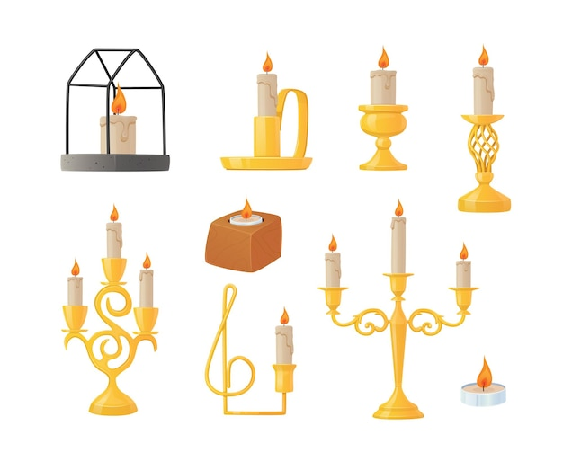 Zestaw świec w różnych świecznikach