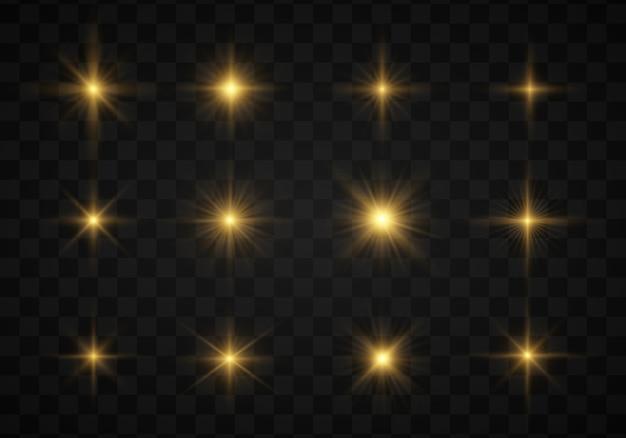 Zestaw świecąca gwiazda, cząsteczki słońca, bokeh, światła.
