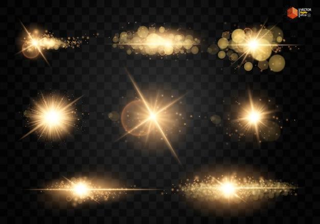 Zestaw. świecąca gwiazda, cząsteczki słońca i iskry z efektem podświetlenia, kolorowe światła bokeh błyszczą i cekiny.