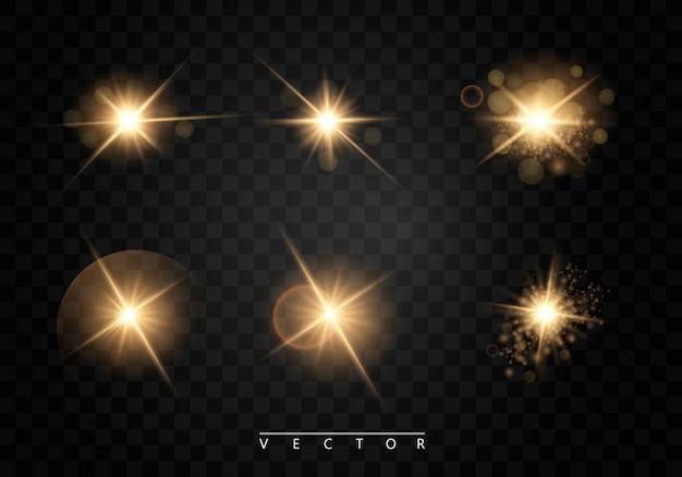 Zestaw. świecąca gwiazda, cząsteczki słońca i iskry z efektem podświetlenia, kolorowe światła bokeh błyszczą i cekiny
