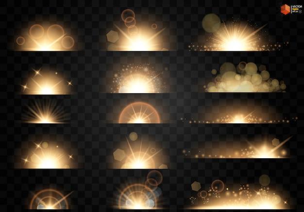Zestaw. świecąca gwiazda, cząsteczki słońca i iskry z efektem podświetlenia, złote światła bokeh błyszczą i cekiny.