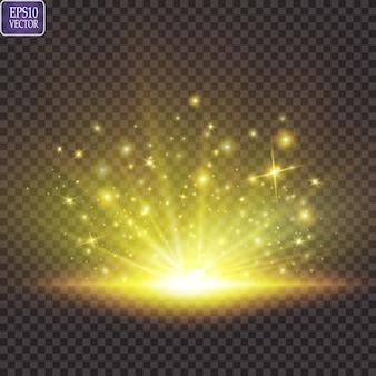 Zestaw. świecąca gwiazda, cząsteczki słońca i iskry z efektem rozświetlenia, błyszczące złote światła bokeh i cekiny. na ciemnym tle przezroczystym.