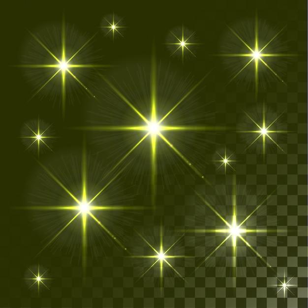 Zestaw świecące gwiazdy efekt świetlny pęka na przezroczystym tle.