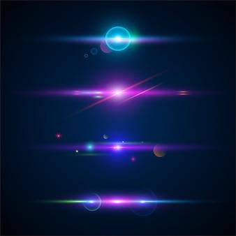 Zestaw świecącego efektu świetlnego.