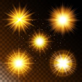Zestaw świecącej gwiazdy z efektem świetlnym, ciepłe żółte światło słoneczne z iskierkami