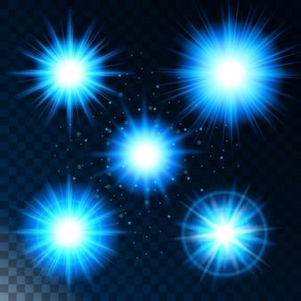 Zestaw świecącej gwiazdy z efektem świetlnym, słońce świeci na niebiesko z iskierkami