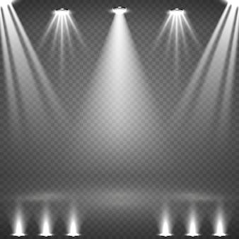 Zestaw świecących białych reflektorów
