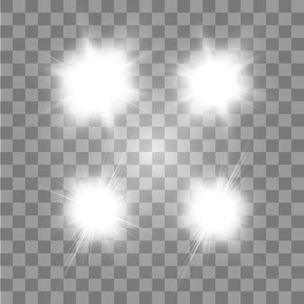 Zestaw świecących gwiazd z efektem świetlnym wybucha błyskami na przezroczystym tle. przezroczyste gwiazdy.