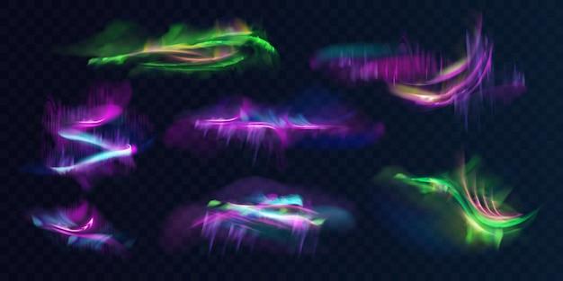 Zestaw świecących, jarzących się polarnych lub północnych świateł w atmosferze