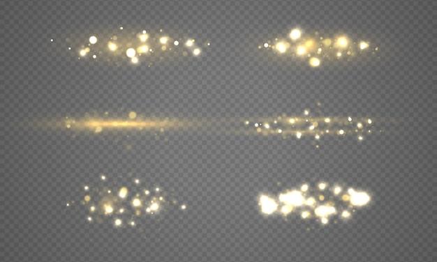 Zestaw świecących świateł bokeh
