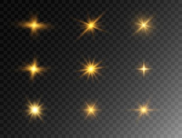Zestaw świecących świateł Premium Wektorów