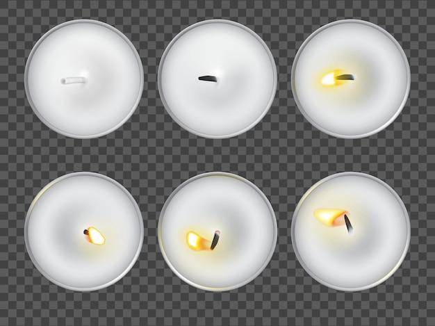 Zestaw świeczek do herbaty. różne płonące światło na białym tle. widok blatu w różnych kształtach płomienia