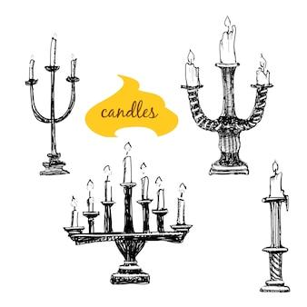 Zestaw świeczników ze świecami