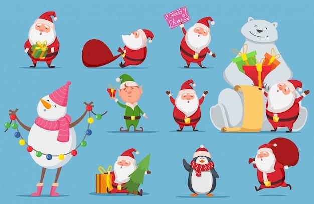 Zestaw świętego mikołaja. postacie świąteczne. ładny mikołaj, niedźwiedź polarny, ilustracja pingwina