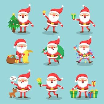 Zestaw świętego mikołaja z prezentem i śniegiem na zielonym tle na boże narodzenie i nowy rok karty, postać z kreskówki