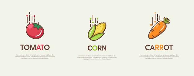 Zestaw świetnych logo z ozdobnymi płaskimi owocami