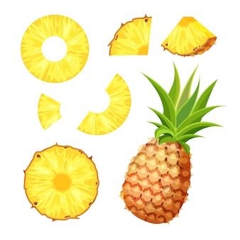 Zestaw świeży cały, pół, pokrojony plasterek i kawałek ananasa na białym tle. wegańskie ikony żywności w modnym stylu kreskówek. koncepcja zdrowej żywności.