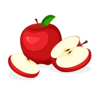 Zestaw świeżych, całe, pół, pokrojone plastry i kawałek czerwonego jabłka na białym tle. wegańskie ikony żywności w modnym stylu kreskówki. zdrowa koncepcja.